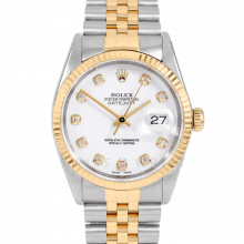 Rolex Datejust 16013 Custom White Diamond Dial 36mm Yellow Gold & Stainless Steel - Fluted Bezel On A Jubilee Band - Pre-Owned