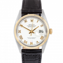 Rolex Datejust 16013 White Roman Dial 36mm Yellow Gold & Stainless Steel - Fluted Bezel On Leather Strap - Pre-Owned