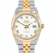 Rolex Datejust 16013 White Roman Dial 36mm Yellow Gold & Stainless Steel - Fluted Bezel On A Jubilee Band - Pre-Owned