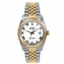 Rolex Mens 36mm Datejust 16233 Stainless Steel and Yellow Gold w/ White Roman Dial & Fluted Bezel On A Jubilee Bracelet - Men's Pre-Owned