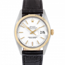 Rolex Datejust 16013 White Stick Dial 36mm Yellow Gold & Stainless Steel - Fluted Bezel On Leather Strap - Pre-Owned