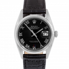 Rolex Datejust 16014 Black Roman Dial - Stainless Steel - Fluted Bezel On A Leather Strap - Pre-Owned