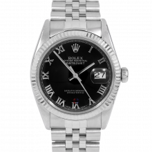 Rolex Datejust 16014 Black Roman Dial - Stainless Steel - Fluted Bezel On A Jubilee Band - Pre-Owned