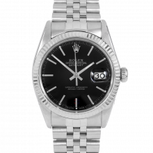 Rolex Datejust 16014 Black Stick Dial - Stainless Steel - Fluted Bezel On A Jubilee Band - Pre-Owned