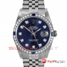 Rolex Mens Stainless Steel Datejust with Blue Diamond Dial - Sapphire Bezel - Jubilee Band - 16014 Model