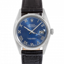 Rolex Datejust 16014 Blue Roman Dial - Stainless Steel - Fluted Bezel On A Leather Strap - Pre-Owned