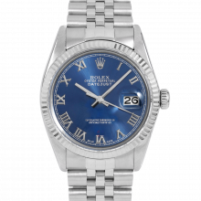 Rolex Datejust 16014  Blue Roman Dial - Stainless Steel - Fluted Bezel On A Jubilee Band - Pre-Owned