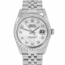 Rolex Datejust 16014 Custom Mother of Pearl Diamond Dial - Stainless Steel - Diamond Bezel On A Jubilee Band - Pre-Owned