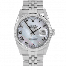 Rolex Datejust 16014 Mother Of Pearl Roman Numeral Dial - Stainless Steel - Fluted Bezel On A Jubilee Band - Pre-Owned