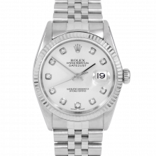 Rolex Datejust 16014 Custom Silver Diamond Dial - Stainless Steel - Fluted Bezel On A Jubilee Band - Pre-Owned