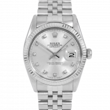 Rolex Datejust 16014 Factory Silver Diamond Dial - Stainless Steel - Fluted Bezel On A Jubilee Band - Pre-Owned