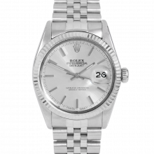 Rolex Datejust 16014 Silver Stick Dial - Stainless Steel - Fluted Bezel On A Jubilee Band - Pre-Owned