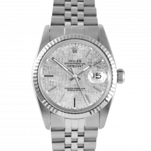 Rolex Datejust 16014 Silver Linen Stick Dial - Stainless Steel - Fluted Bezel On A Jubilee Band - Pre-Owned