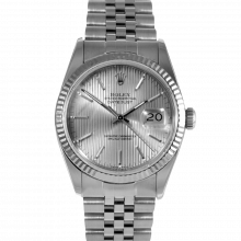 Rolex Datejust 16014 Silver Tapestry Stick Dial - Stainless Steel - Fluted Bezel On A Jubilee Band - Pre-Owned