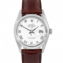 Rolex Datejust 16014 White Roman Dial - Stainless Steel - Fluted Bezel On A Leather Strap - Pre-Owned