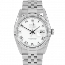 Rolex Datejust 16014 White Roman Dial - Stainless Steel - Fluted Bezel On A Jubilee Band - Pre-Owned