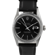 Rolex Datejust 16030 - Black Stick Dial - Stainless Steel - Engine Turn Bezel On A Leather Strap - Pre-Owned