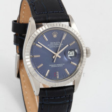 Rolex Datejust 36mm 16030 Stainless Steel w/ Blue Stick Dial & Engine Turn Bezel with Dark Blue Leather Alligator Strap - Men's Pre-Owned Watch