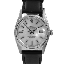 Rolex Datejust 16030 - Silver Stick Dial - Stainless Steel - Engine Turn Bezel On A Leather Strap - Pre-Owned