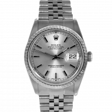 Pre-owned Rolex Mens Datejust Watch - Stainless Steel Silverstick Dial & Engine Turn Bezel On A Jubilee Band 16030 Model