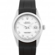 Rolex Datejust 16030 -  White Roman Dial - Stainless Steel - Engine Turn Bezel On A Black Rubber Strap - Pre-Owned