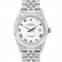 Rolex 16030 Mens Datejust 36mm Stainless Steel w/ White Roman Dial & Smooth Bezel with Jubilee Bracelet - Pre-Owned