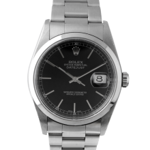 Pre-owned Rolex Mens Datejust Watch - Stainless Steel Black  Stick Marker Dial - Smooth Bezel On An Oyster Band 16200 Model