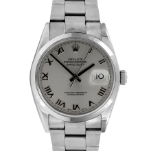 Pre-owned Rolex Mens Datejust Watch - Stainless Steel Rhodium Roman Dial - Smooth Bezel On An Oyster Band 16200 Model