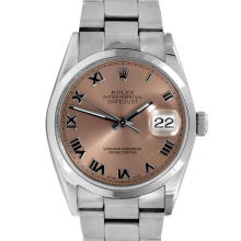 Pre-owned Rolex Mens Datejust Watch - Stainless Steel Rose Roman Dial - Smooth Bezel On An Oyster Band 16200 Model