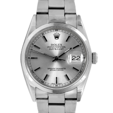 Pre-owned Rolex Mens Datejust Watch - Stainless Steel Silver Stick Marker Dial - Smooth Bezel On An Oyster Band 16200 Model