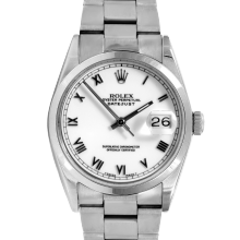 Pre-owned Rolex Mens Datejust Watch - Stainless Steel White Roman Dial - Smooth Bezel On An Oyster Band 16200 Model