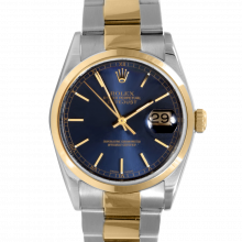 Pre-owned Rolex Mens Datejust Two Tone Watch - Blue Stick Dial & Smooth Bezel On an Oyster Band 16203 Model