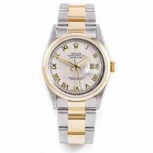 Rolex 16203 Mens Datejust 36mm Yellow Gold & Stainless Steel w/ Ivory Jubilee Roman Dial and Smooth Bezel with Oyster Bracelet - Pre-Owned w/ Box & Papers