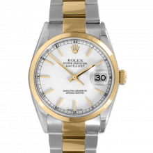 Pre-owned Rolex Mens Datejust Two Tone Watch - White Stick Dial & Smooth Bezel On An Oyster Band 16203 Model