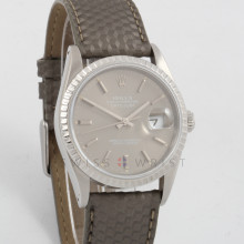 Rolex Datejust 36 mm 16220 Stainless Steel w/ Slate Stick Dial and Engine Turned Bezel with Grey Textured Leather Band -Men's Pre-Owned Watch