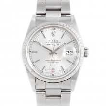 Rolex Datejust 16220 Stainless Steel 36mm, Silver Stick Dial w/ Engine Turned Bezel on a Jubilee Bracelet - Pre-Owned