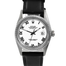 Rolex Datejust 16030 - White Roman Dial - Stainless Steel - Engine Turn Bezel On A Leather Strap - Pre-Owned