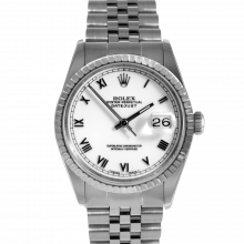 Pre-owned Rolex Mens Datejust Watch - Stainless Steel White Roman Dial - Engine Turn Bezel On A Jubilee Band 16220 Model