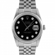 Pre-owned Rolex Mens Datejust Watch - Stainless Steel Factory Black Diamond Dial - Fluted Bezel On A Jubilee Band 16234 Model