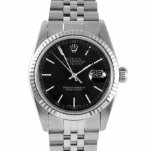 Pre-owned Rolex Mens Datejust Watch - Stainless Steel Black Stick Dial & Fluted Bezel On A Jubilee Band 16234 Model