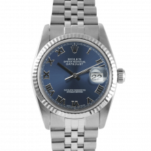 Pre-owned Rolex Mens Datejust Watch - Stainless Steel Blue Roman Dial - Fluted Bezel On A Jubilee Band 16234 Model