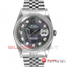 Rolex Men's Datejust Stainless Steel Custom Black Mother Of Pearl Diamond Dial & Fluted Bezel On A Jubilee Band 16234 Model