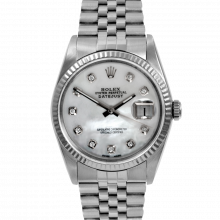 Pre-owned Rolex Mens Datejust Watch - Stainless Steel MOP Diamond Dial & Fluted Bezel On A Jubilee Band 16234 Model