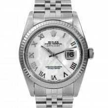 Pre-owned Rolex Mens Datejust Watch - Stainless Steel MOP Roman Dial & Fluted Bezel On A Jubilee Band 16234 Model