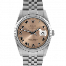 Pre-owned Rolex Stainless Steel Mens Datejust Watch with Pink Salmon Roman Dial & White Gold Fluted Bezel On An Jubilee Band 16234 Model