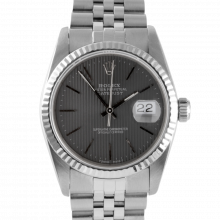 Pre-owned Rolex Mens Datejust Watch - Stainless Steel Slate Stick Tapestry Dial & Fluted Bezel On A Jubilee Band 16234 Model