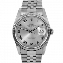 Pre-owned Rolex Mens Datejust Watch - Stainless Steel Silver Roman Dial & Fluted Bezel On A Jubilee Band 16234 Model
