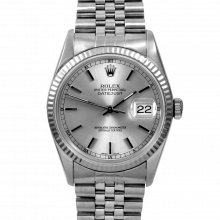 Pre-owned Rolex Mens Datejust Watch - Stainless Steel Silver Stick Dial & Fluted Bezel On A Jubilee Band 16234 Model