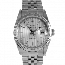 Pre-owned Rolex Mens Datejust Watch - Stainless Steel Silver Stick Tapestry Dial & Fluted Bezel On A Jubilee Band 16234 Model