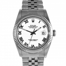 Pre-owned Rolex Mens Datejust Watch - Stainless Steel White Roman Dial - Wg Fluted Bezel On A Jubilee Band 16234 Model